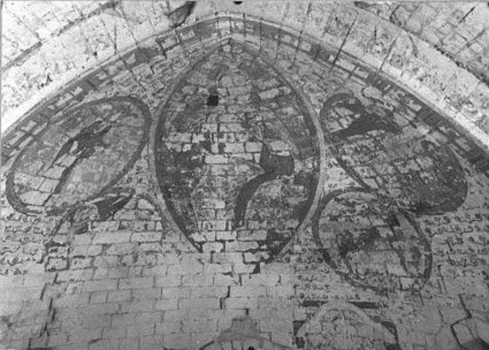 Tétramorphe de la chapelle de la commanderie d'Auzon, photo Arambourou 1950