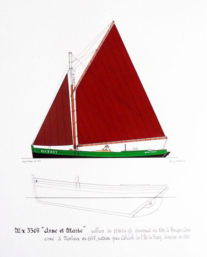 """""""Anne et Marie"""" sablier de l'île de Batz. Pendant la guerre, malgré la motorisation bien utile, les marins étaient parfois contraints de cirguer pour remonter à Morlaix ou à Penzé. Le carburant était rationné… Dessin Henry Kerisit."""