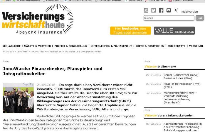 """Bericht über unseren Erfolg im Onlinemagazin """"Versicherungswirtschaft heute"""" (Screenshot vom 25..09.2016)"""