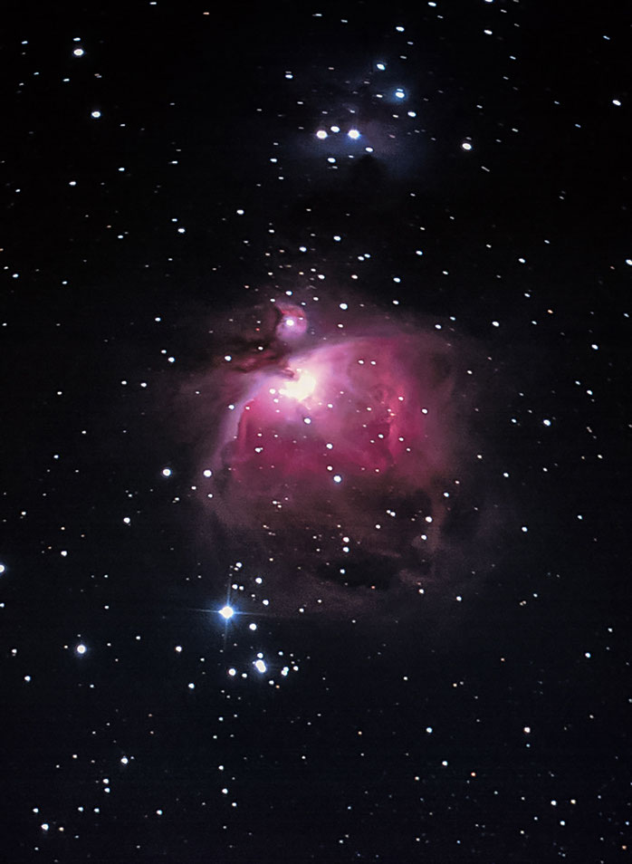 Orion nebula, M42, Running Man with Vixen R200SS Telescope, Scan from Slide Film, Kodak Elite Chrome, 1332x1820px