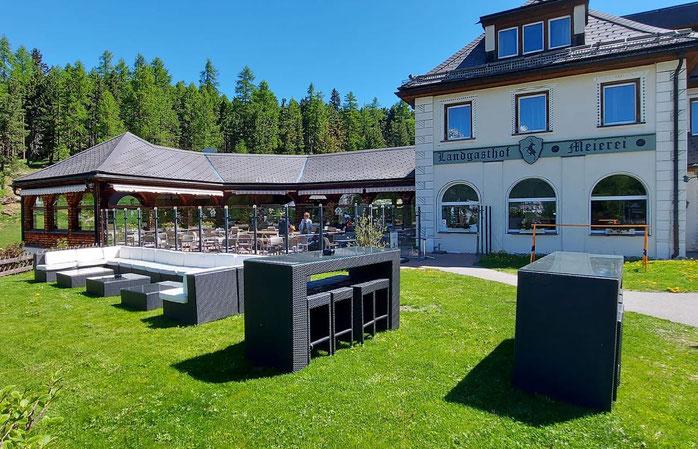 Hotel Landgasthof Meierei St. Moritz Restaurant Terrasse Aussenansicht