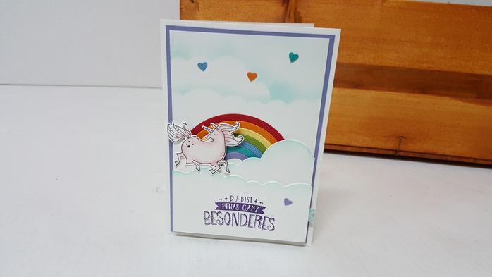 Einhorn, Regenbogen, Thinlits rainbow builder, Magical Day, Geburtstagskarte, Kinder, Zauberhafter Tag, Stampin' Up!, Stempelkiste, Ziehkarte
