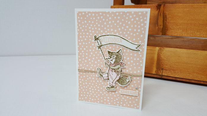 Karte Baby, Glückwunschkarte zur Geburt, Karte zur Geburt, Glückwunsch zum Baby, Stampin' Up!, Stempelkiste, Nostalgischer Geburtstag, Wild auf Grüße, Stampin Blends