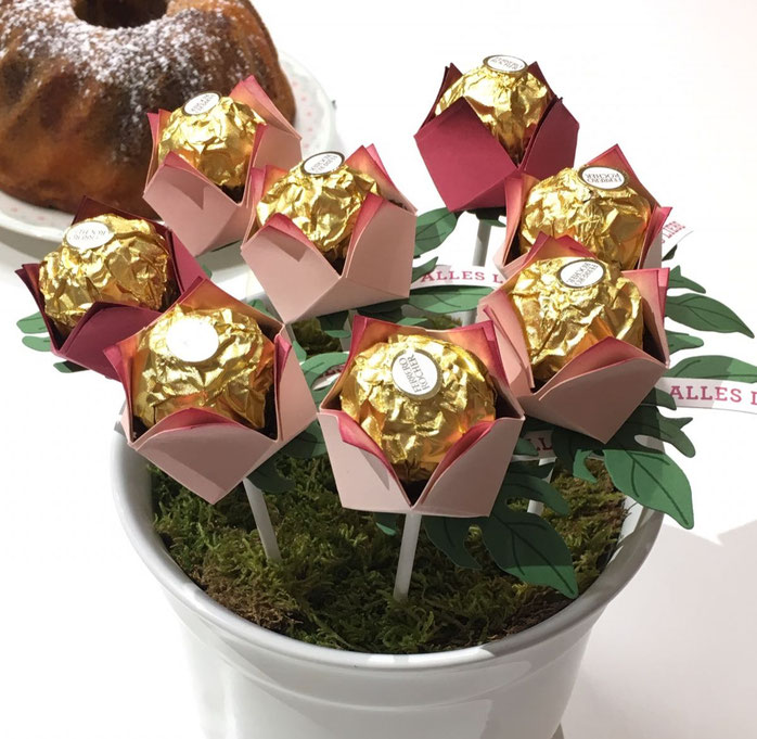 Ferrero Rocher Blume Verpackung Stampin Up Stempelkiste Papierblume Valentinstag Frühling