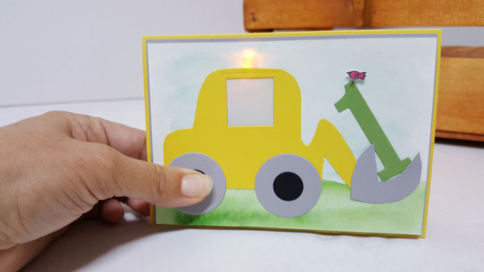 Karte zum 1. Geburstag, Geburtstagskarte Bub, Bagger, Blinken, Leuchten, LED Karte, Diode, Stampin Up, Stempelkiste, Geburtstag Kind