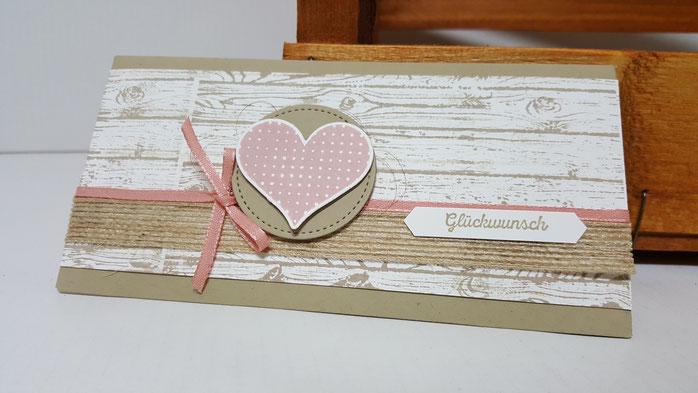 Hochzeit, Glückwunsch zur Hochzeit, Stampin Up, Stempelkiste, Gutscheinverpackung, Geschenk zur Hochzeit