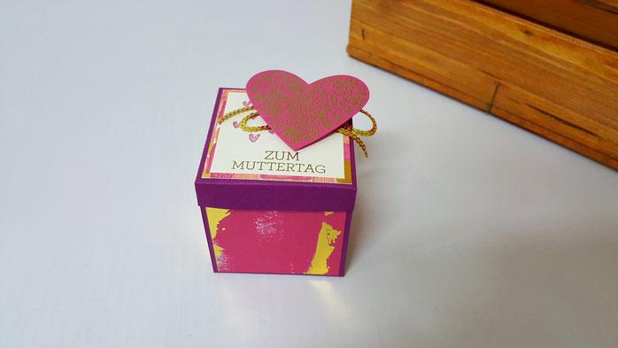Muttertag, Ferrero Verpackung, DSP Gemalt mit Liebe, Explosionsbox, Stampin Up, Stempelkiste