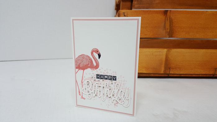 Flamingo Fantasie, Flamingo, Stampin Up, Geburtstag, Geburtstagskarte, Stempelkiste, Glückwunschkarte zum Geburtstag