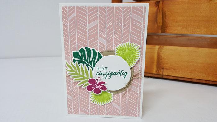 DSP, Designerpapier, Traumhaft tropisch, Tropenflair, tropical chic, Palmengarten, Karte, Geburtstag, Stampin' Up!, Stempelkiste