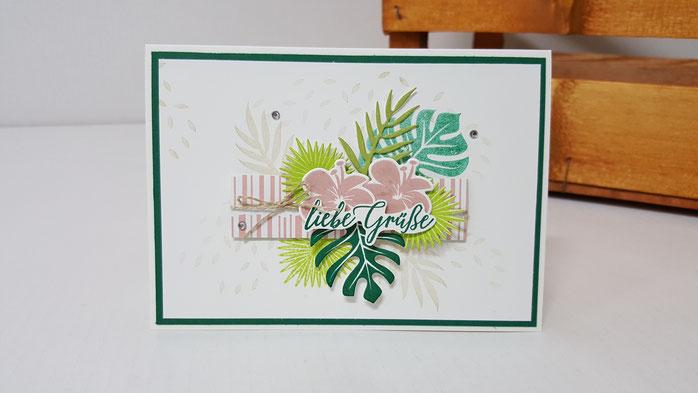 Thinlits Formen Palmengarten, Produktpaket Tropenflair, Stempel Tropenflair, Geburtstag, Grüße, Karte, Stampin' Up!, Stempelkiste