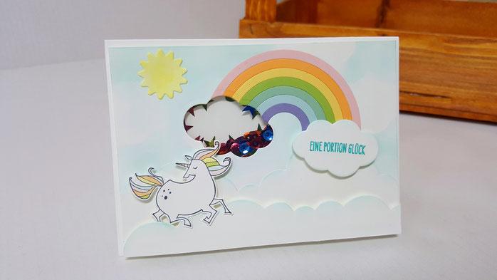Schüttelkarte, Zauberhafter Tag, Kindergeburtstagskarte, Regenbogen Framelits, Einhorn, Stampin Up, Stempelkiste