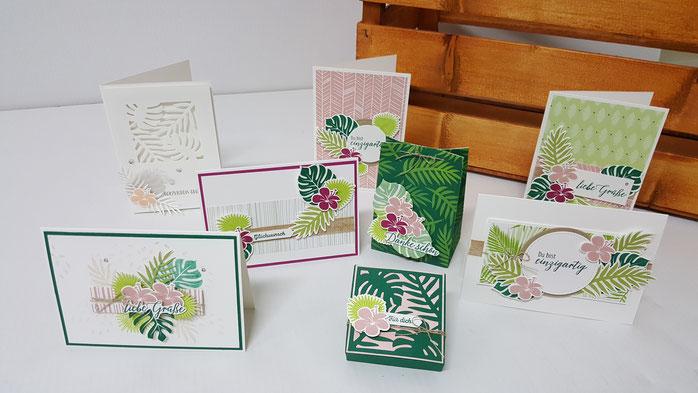 Tropenflair, Tropical Chic, DSP, Designerpapier Traumhaft tropisch, Karte, Verpackung, Geburstagskarte, Stampin' Up!, Stempelkiste, Palmengarten, Danke
