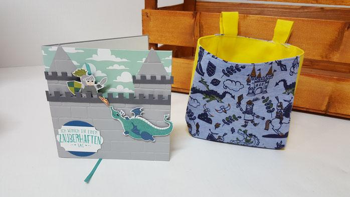 Ziehkarte, Kindergeburtstag, Ritter, Fahrradtasche, Pukitasche, Zauberhafter Tag, Geburtstagskarte für Kinder, Stampin' Up!, Stempelkiste