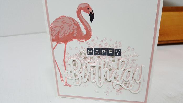 Happy Birthday Thinlits, Flamingo Fantasie, Labeler Alphabet, Baum der Freundschaft, Stampin' Up!, Stempelkiste, Geburtstagskarte