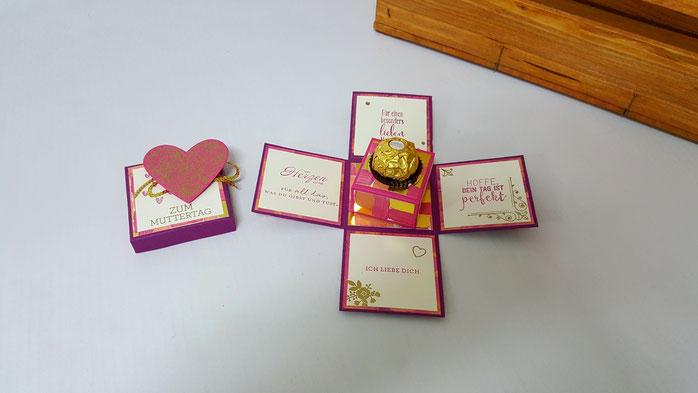 Muttertag, Ferrero Verpackung, DSP Gemalt mit Liebe, Explosionsbox, Stampin Up, Stempelkiste, Muttertagsgeschenk