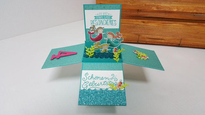 Zauberhafter Tag, Stampin Up, Stempelkiste, Märchenhaft, Geburtstag, Karte, Boxkarte, Klappkarte, Kartenbox
