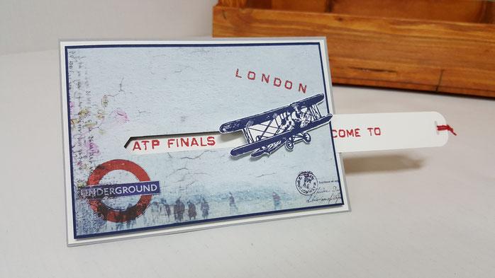 Gutschein für Männer, Geburtstagskarte für Männer, Stampin Up, Stempelkiste, Reisegutschein für London