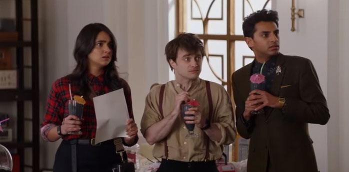 Geraldine Viswanathan (Eliza), Daniel Radcliffe (Craig) and Karan Soni (Sanjay)  in Miracle Workers 2019