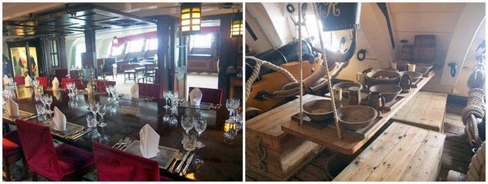 高給士官の食堂(左)と水兵の食卓(右)