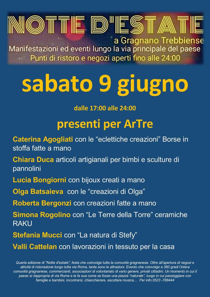 ArTre a Gragnano sabato 9 giugno per   NOTTE D'ESTATE  esposizioni dalle 17,00 alle 24,00