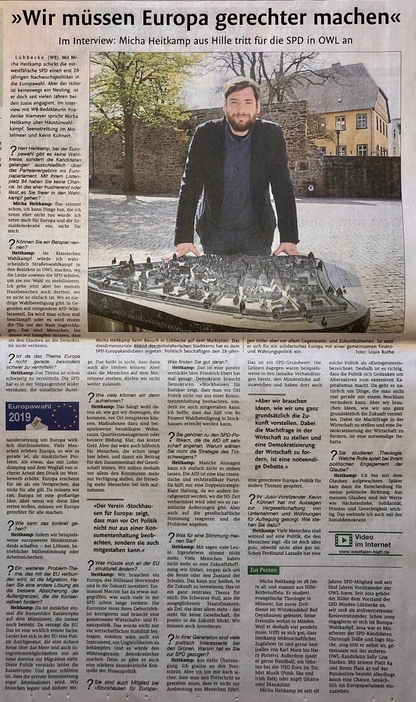 """Interview mit OWL-Europakandidat Micha Heitkamp, in dem u. a. auch lobend auf unsere Initiative """"Stockhausen für Europa"""" verwiesen wird (Lübbecker Kreiszeitung (Westfalen-Blatt), Lokalteil Lübbecke, 4. Mai 2019)"""