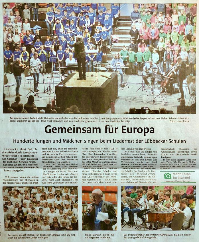 Bericht über das Europa-Liederfest der Lübbecker Schulen (Lübbecker Kreiszeitung (Westfalen-Blatt), Lokalteil Lübbecke, 17.05.2019)