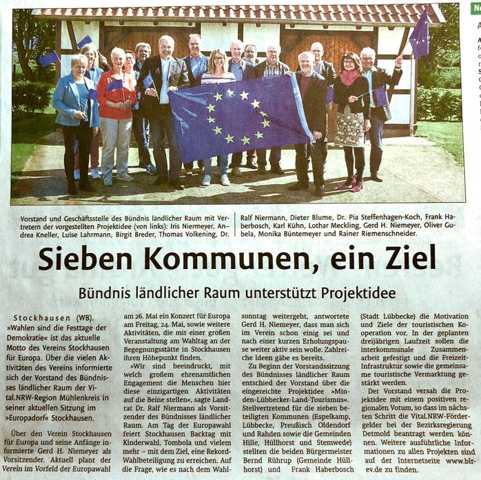 Bericht über Europa-Statement des Bündnisses ländlicher Raum in Stockhausen (Lübbecker Kreiszeitung (Westfalen-Blatt), Lokalteil Lübbecke, 18.05.2019)