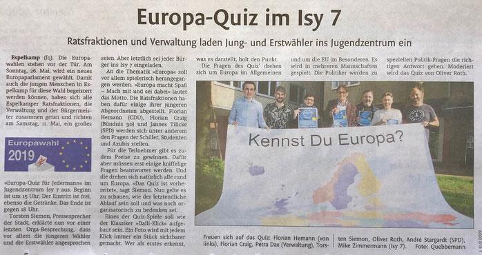 Bericht über Europatag für Jugendliche am 11. Mai im Espelkamper Jugendzentrum Ist 7 (Lübbecker Kreiszeitung (Westfalen-Blatt), Lokalteil Espelkamp, 4. Mai 2019) – Die Initiatoren haben an anderer Stelle auf unseren Verein als Vorbild verwiesen.