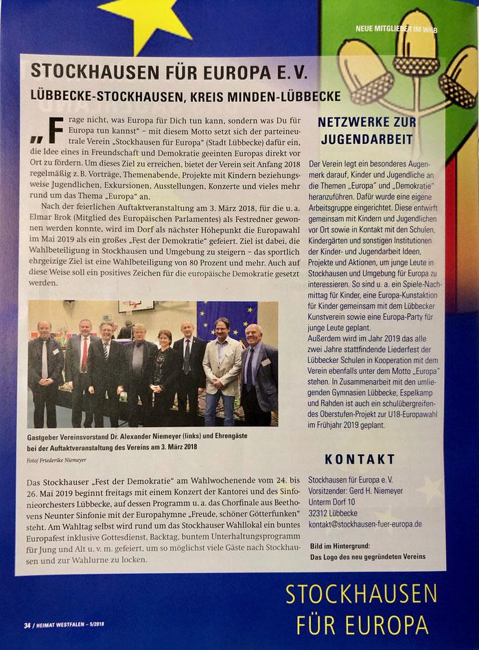"""Allgemeiner Bericht über """"Stockhausen für Europa"""" (""""Heimat Westfalen"""" (Verbandszeitschrift des Westfälischen Heimatbundes), Ausgabe 5/2018, S. 34)"""