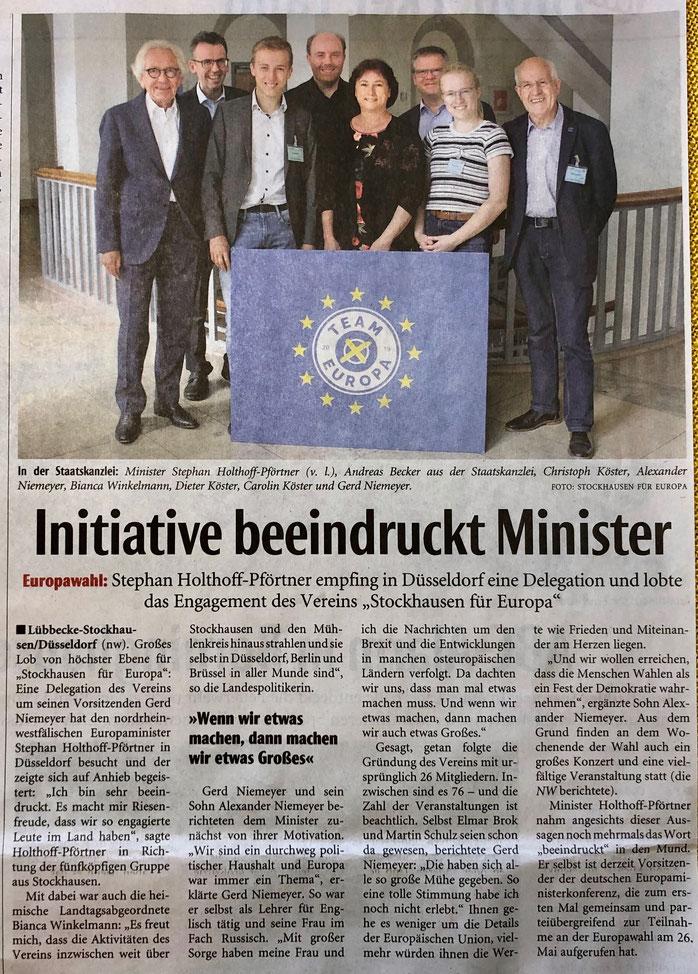Bericht über den SfE-Besuch beim NRW-Europaminister in Düsseldorf (Neue Westfälische, Lokalteil Lübbecke, 29. April 2019)