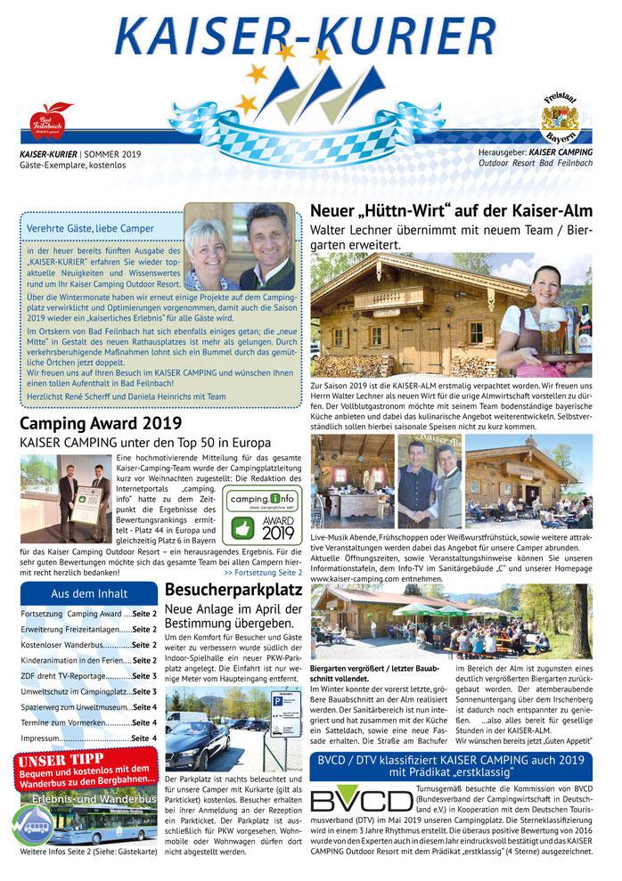 Campingplatz Zeitung vom Kaiser Camping in Bad Feilnbach