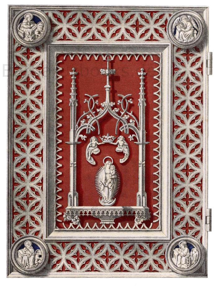 Buchdeckel mit durchbrochenem Silberverzierungen aus der zweiten Hälfte des 15. Jahrhunderts.