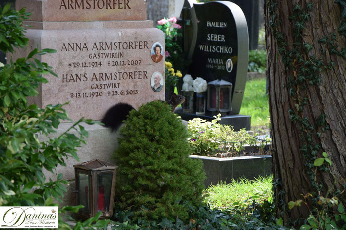 Tröstende Tiergesellschaft im Garten der Toten: Entzückende Eichhörnchen auf Nahrungssuche - beim Gastwirt ;-). Der Salzburger Kommunalfriedhof ist einzigartig und einen Besuch wert!