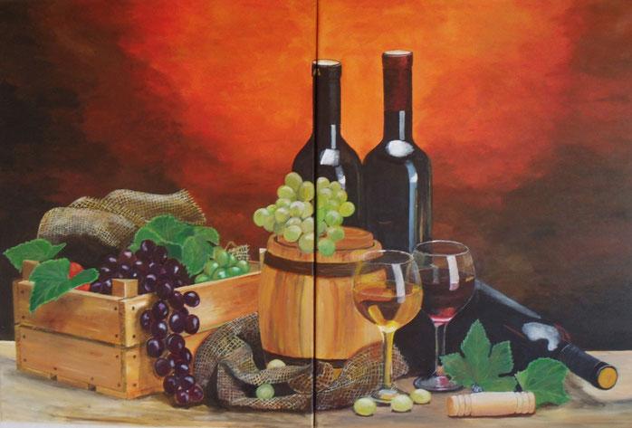 In Vino Veritas, Diptychon, Acryl, Leinwand