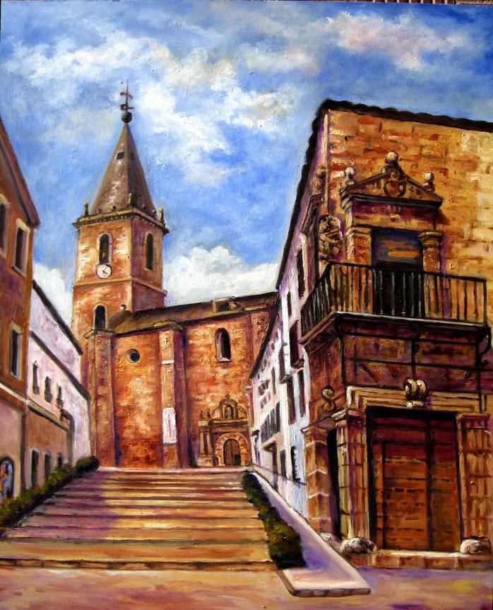 La Roda. Subida a la Iglesia del Salvador. Óleo de 60 x 50