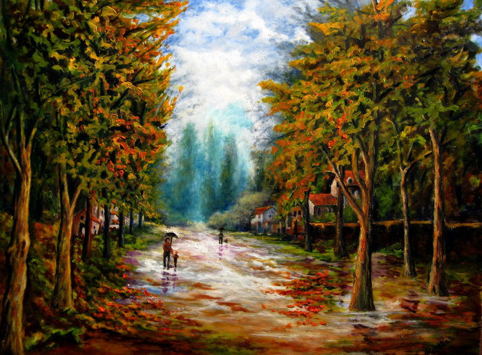 Lluvia en otoño. Óleo de 80 x 60
