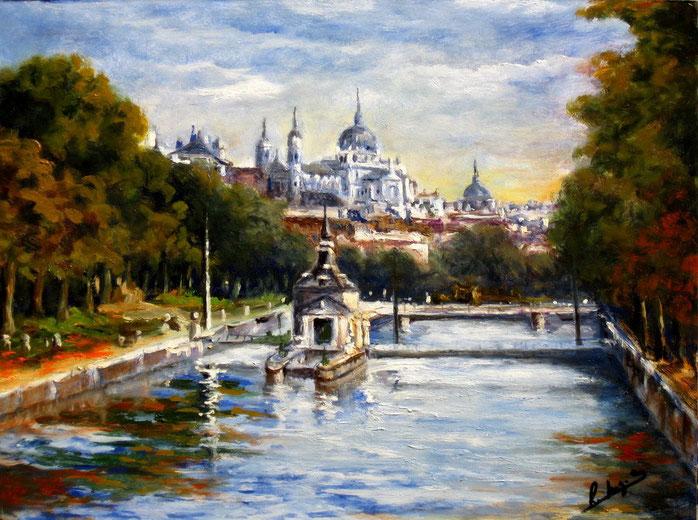 Río Manzanares en Madrid. Óleo de 40 x 30