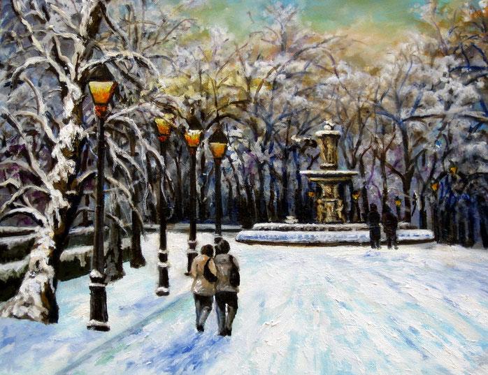 Madrid. Nieve en el Retiro. Óleo de 50 x 40