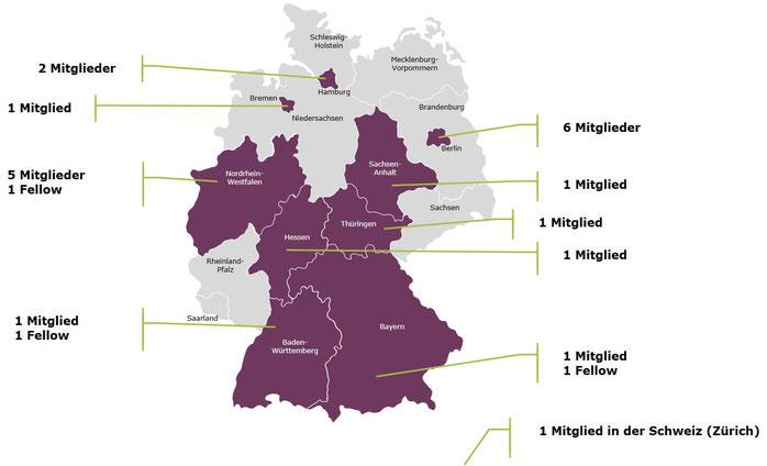 Deutschlandkarte Mitglieder der DeGe