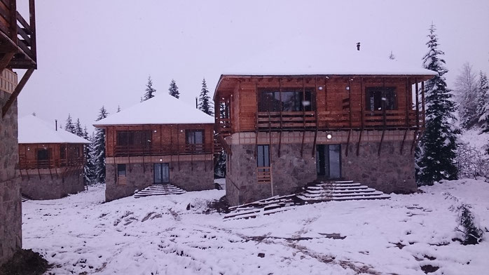 The new cottages at Goderdzi Pass. Each 250 sqm including 4 bedrooms, kitchen and living room.