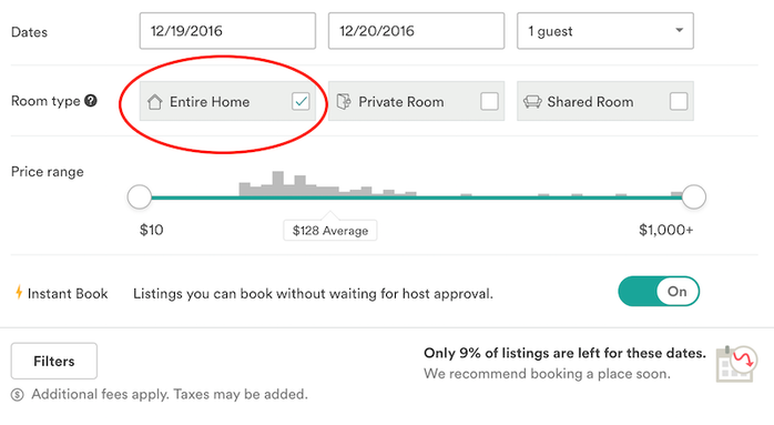 how to book an entire home on airbnb