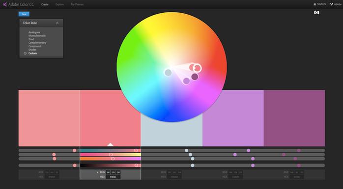 Adobe Color CC permite reconocer los valores RGB o Hex de los colores.
