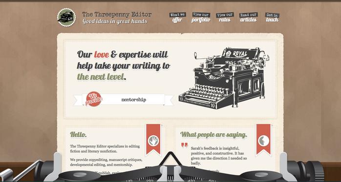 Ejemplo de sitio web con tipografía decorativa.
