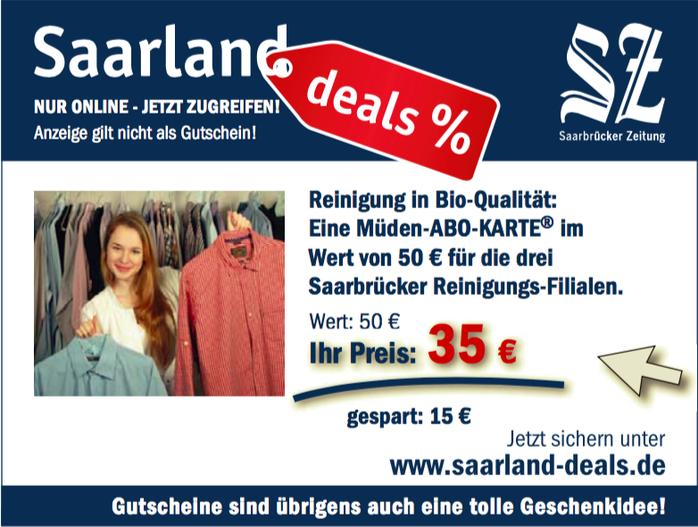 Presseberichte, Werbung Saarland Deal September 2016, Bild von SZ, Abokarte für 35 Euro