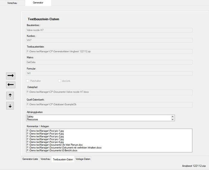 Textbaustein-Stammdaten in der Generatorliste