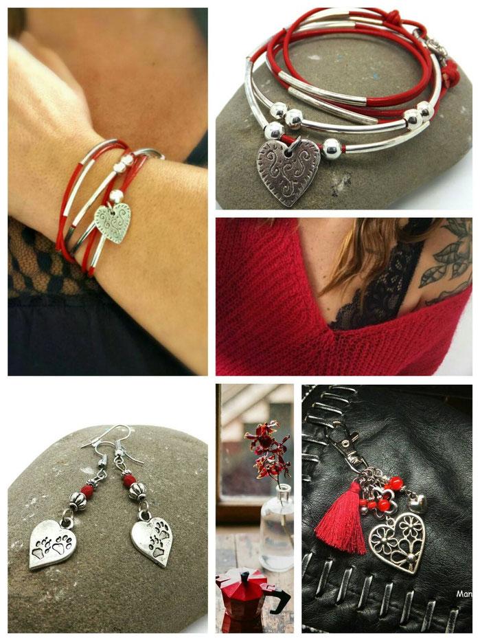 La collection Saint Valentin coeur rouge bracelet LOVELY boucles d'oreilles AIMEE, porte clé AMOUR