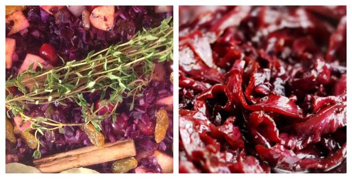 Rodekool met cranberries, appels en rozijnen.