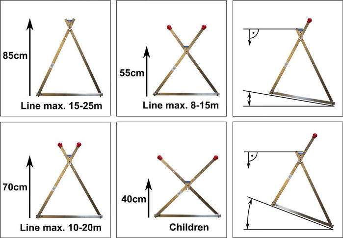 slackline frame adjustable in height