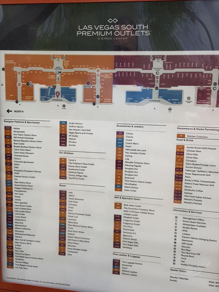 Lageplan Stores Premium Outlets Las Vegas South