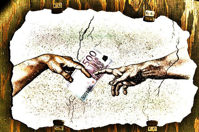 disegno mani di michelangelo che si passano soldi